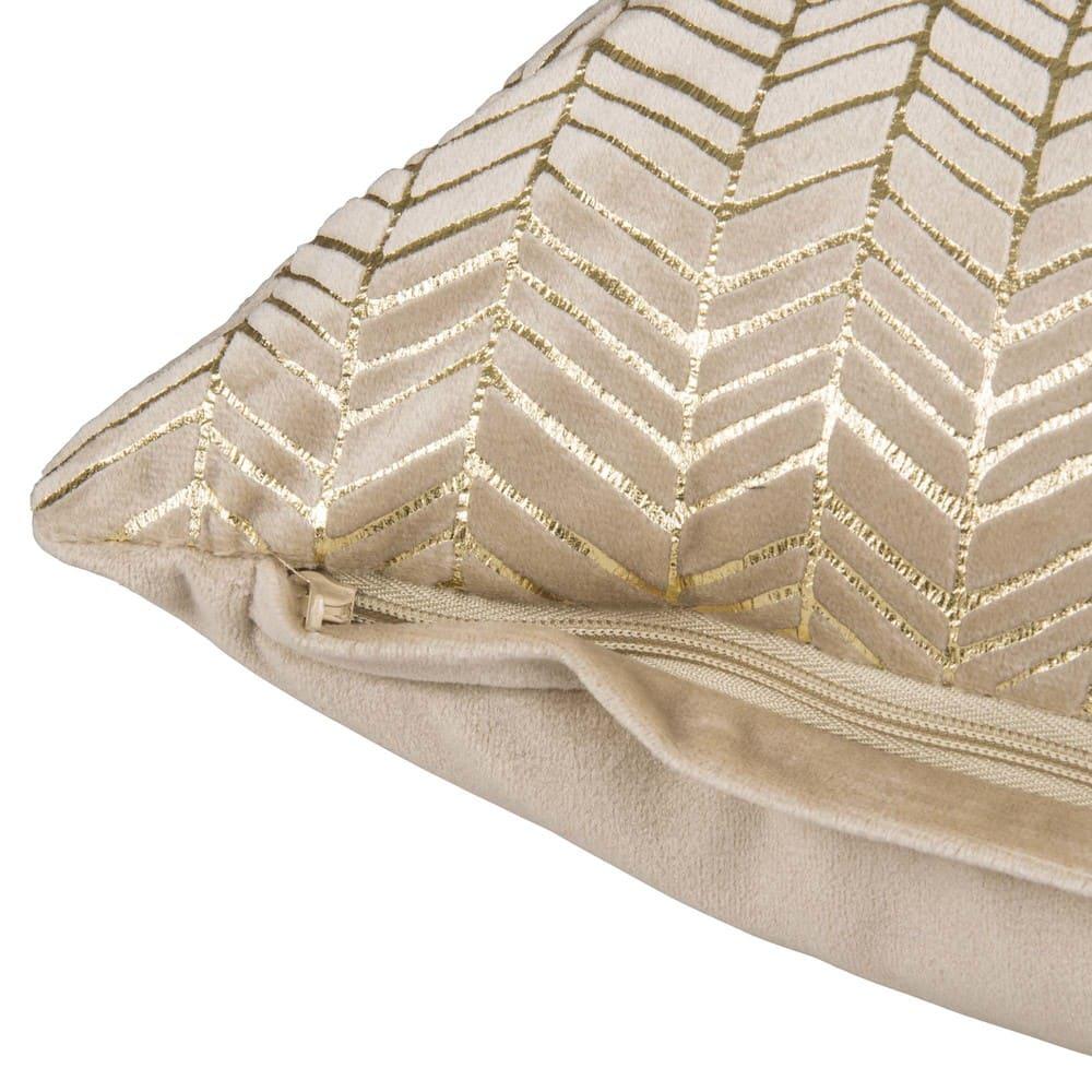 housse de coussin en tissu beige motifs dor s 45x45 acacia. Black Bedroom Furniture Sets. Home Design Ideas