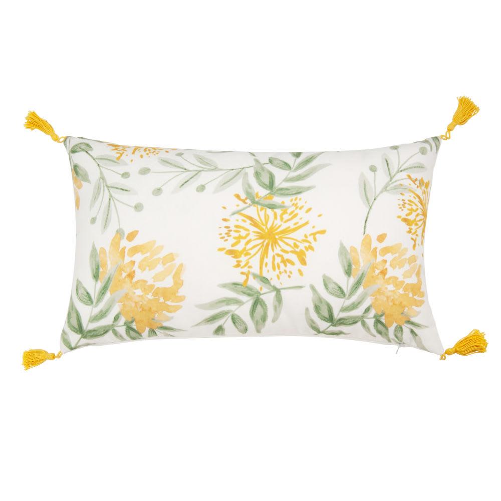 housse de coussin imprim floral avec pompons 30x50. Black Bedroom Furniture Sets. Home Design Ideas