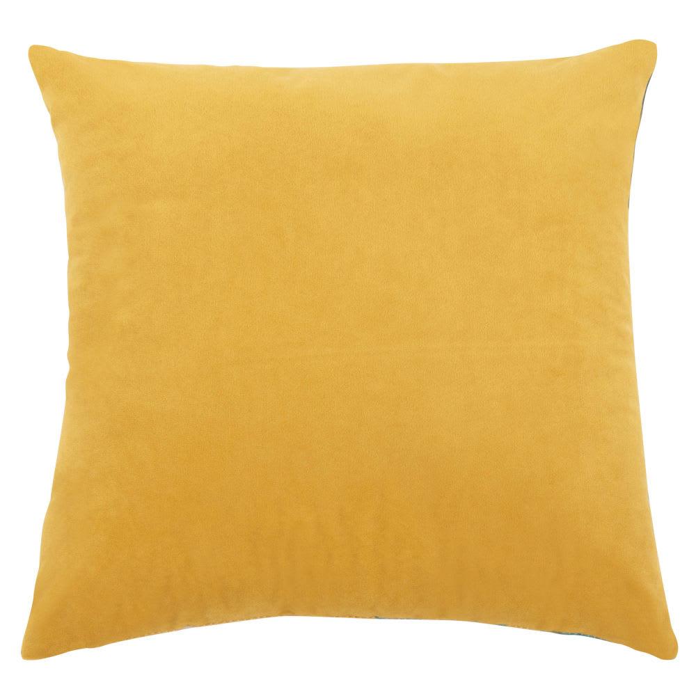 Housse de coussin orange imprimé feuillage