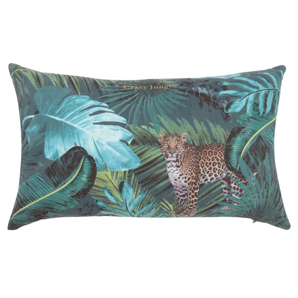 housse de coussin verte imprim jungle 30x50 crazy jungle. Black Bedroom Furniture Sets. Home Design Ideas