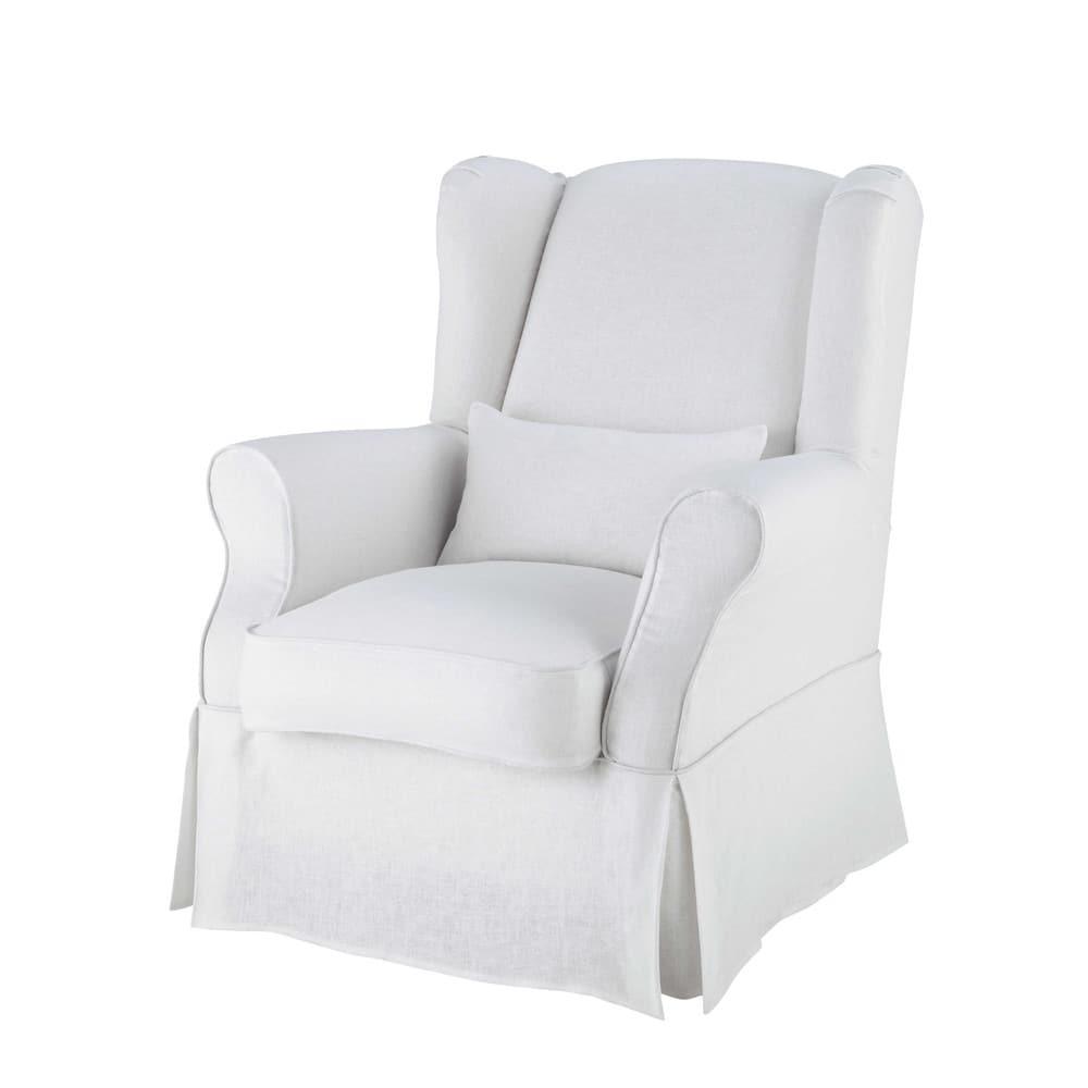 housse de fauteuil en lin blanche cottage maisons du monde. Black Bedroom Furniture Sets. Home Design Ideas