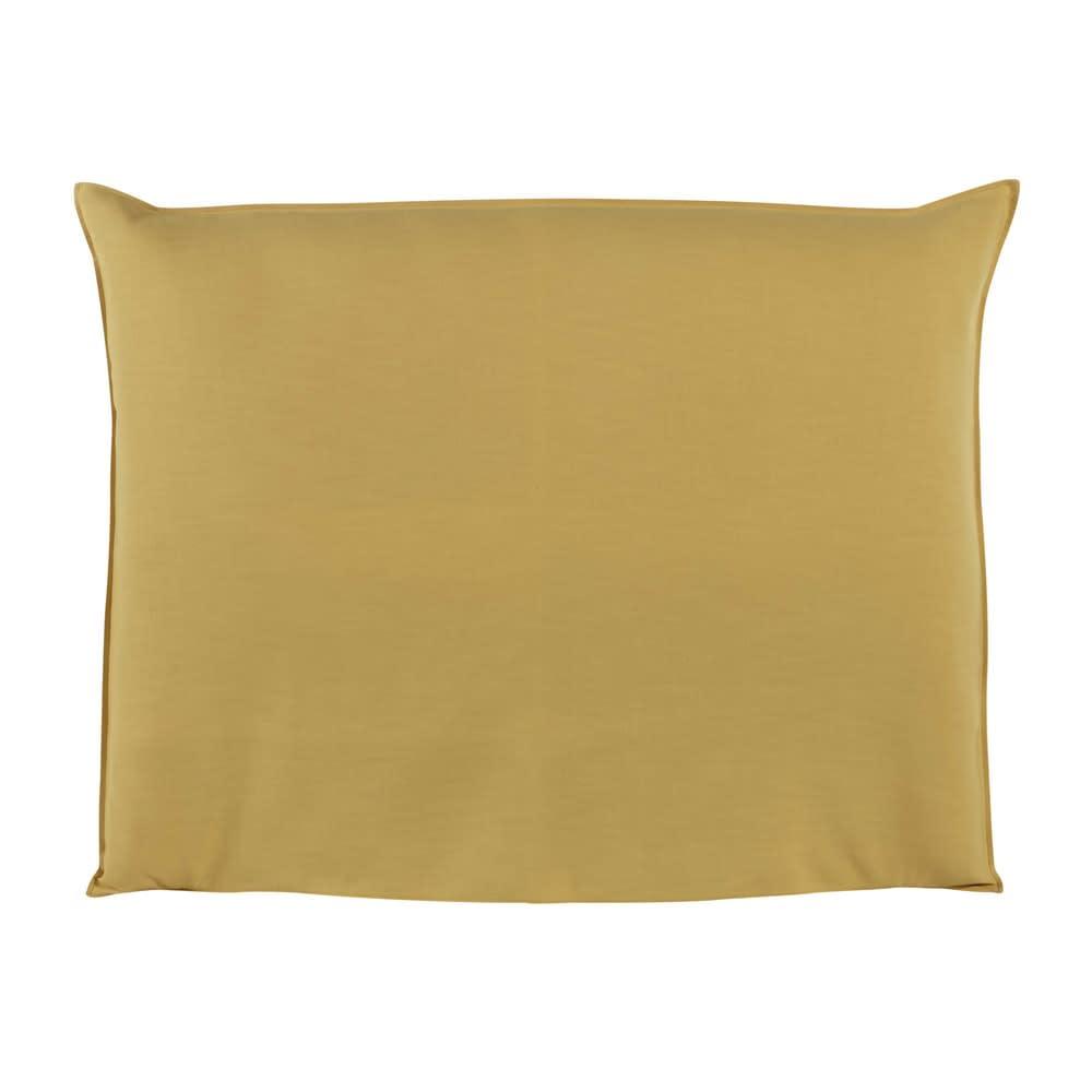 housse de t te de lit 140 jaune moutarde soft maisons du monde. Black Bedroom Furniture Sets. Home Design Ideas