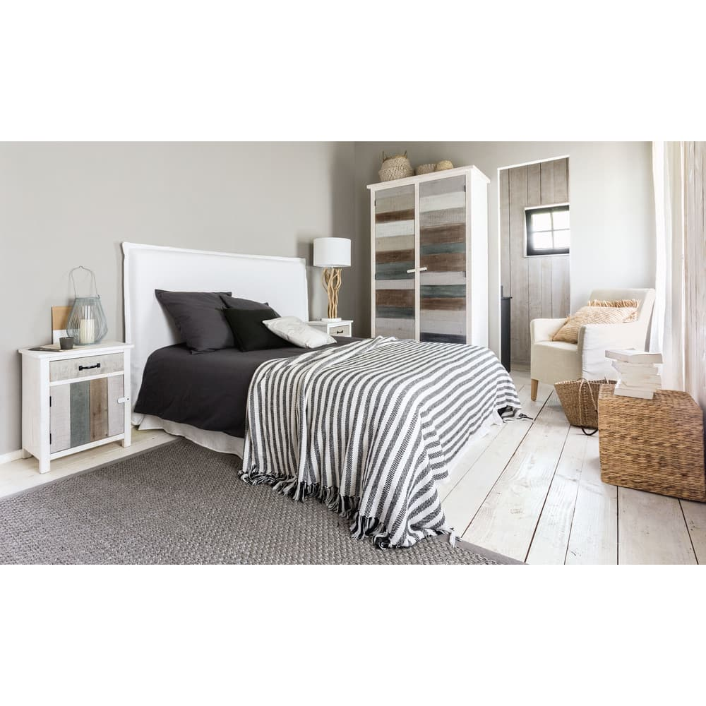 housse de t te de lit 160 en lin lav blanche morphee. Black Bedroom Furniture Sets. Home Design Ideas
