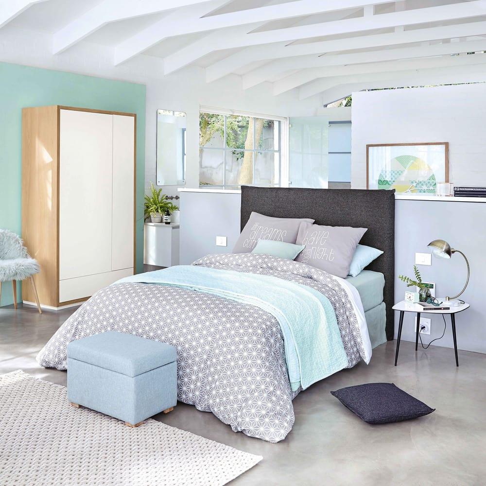 housse de t te de lit 160 en lin lav grise morphee. Black Bedroom Furniture Sets. Home Design Ideas