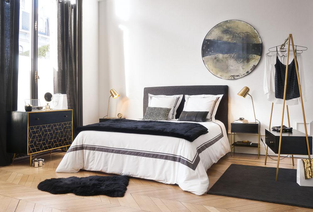 housse de t te de lit 160 gris carbone morphee maisons. Black Bedroom Furniture Sets. Home Design Ideas