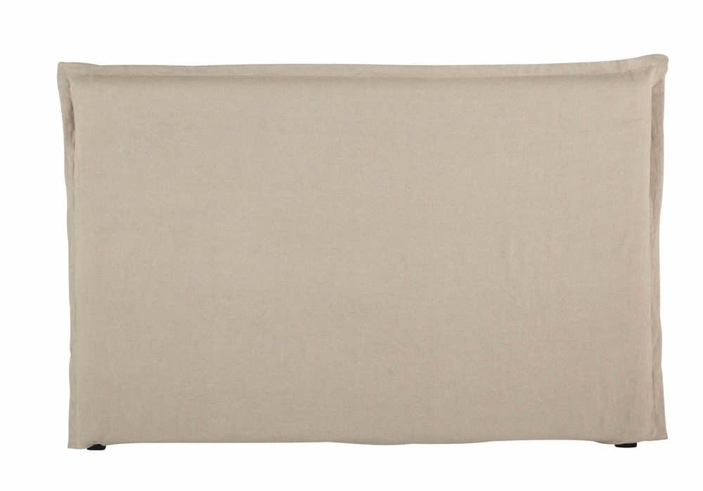 housse de tête de lit 180 en lin lavé beige morphée | maisons du monde