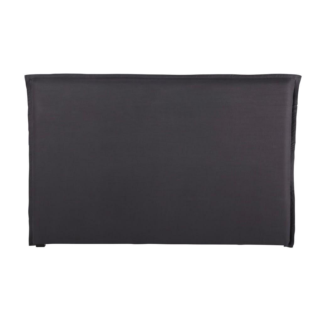 housse de t te de lit 180 en lin lav gris anthracite. Black Bedroom Furniture Sets. Home Design Ideas
