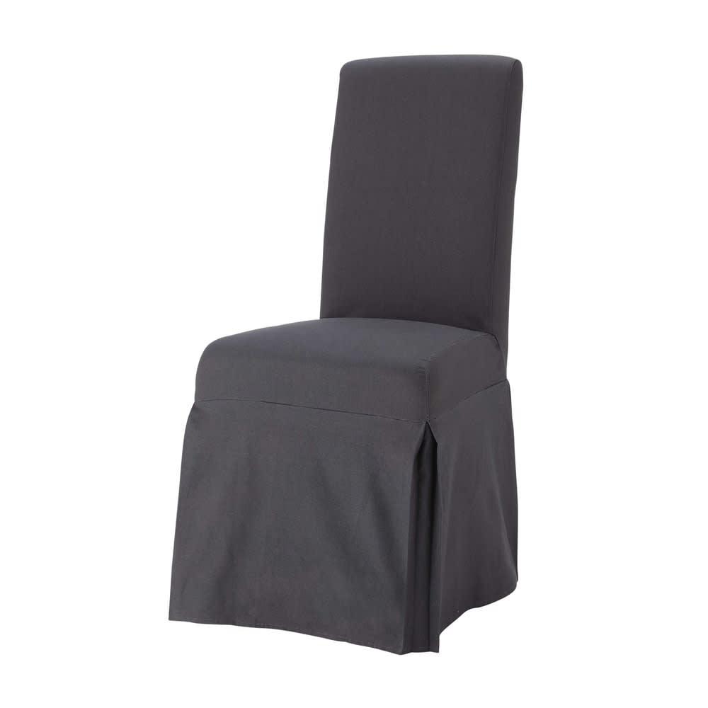 Housse longue de chaise en coton anthracite Margaux | Maisons du Monde