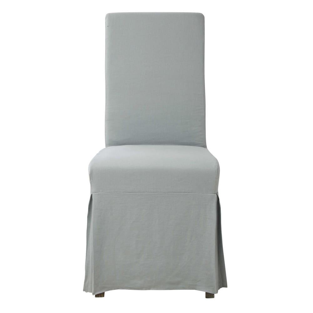 housse longue de chaise en lin bleu glacier margaux. Black Bedroom Furniture Sets. Home Design Ideas