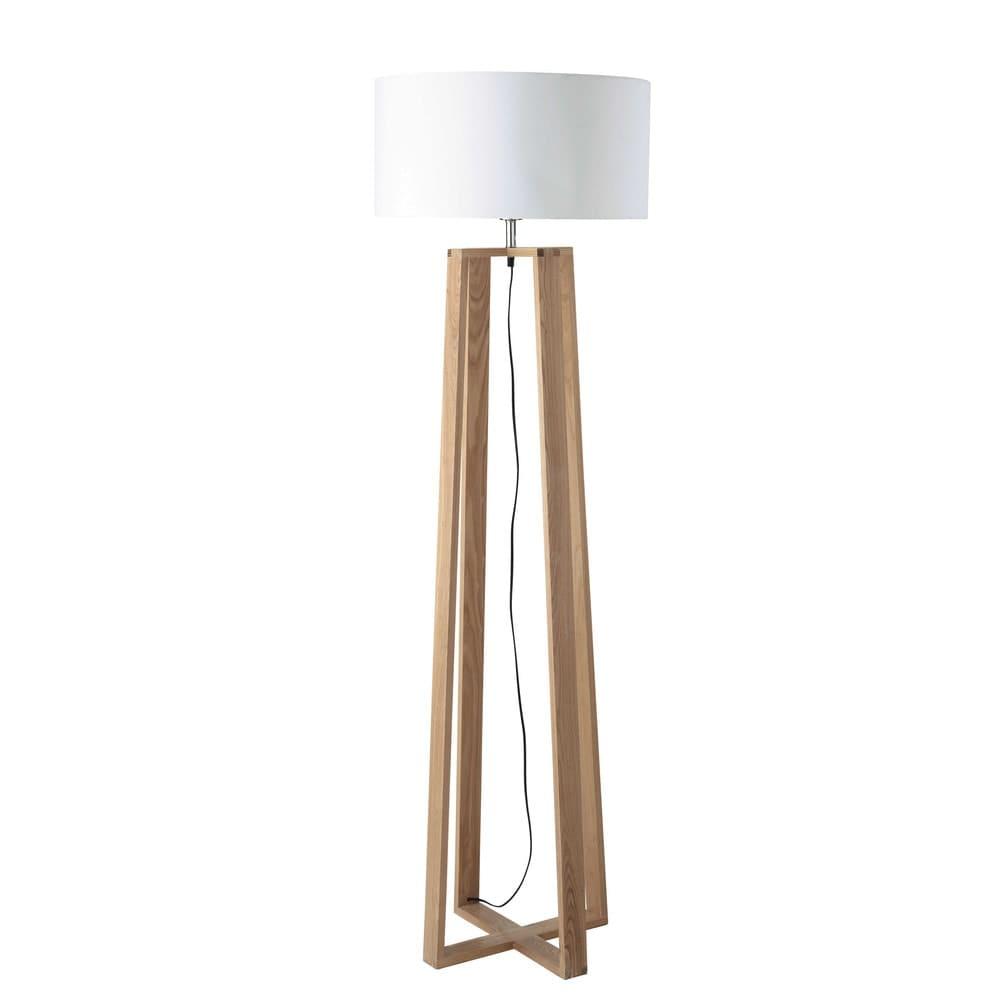 houten en katoenen staande lamp h160 iceberg | maisons du monde