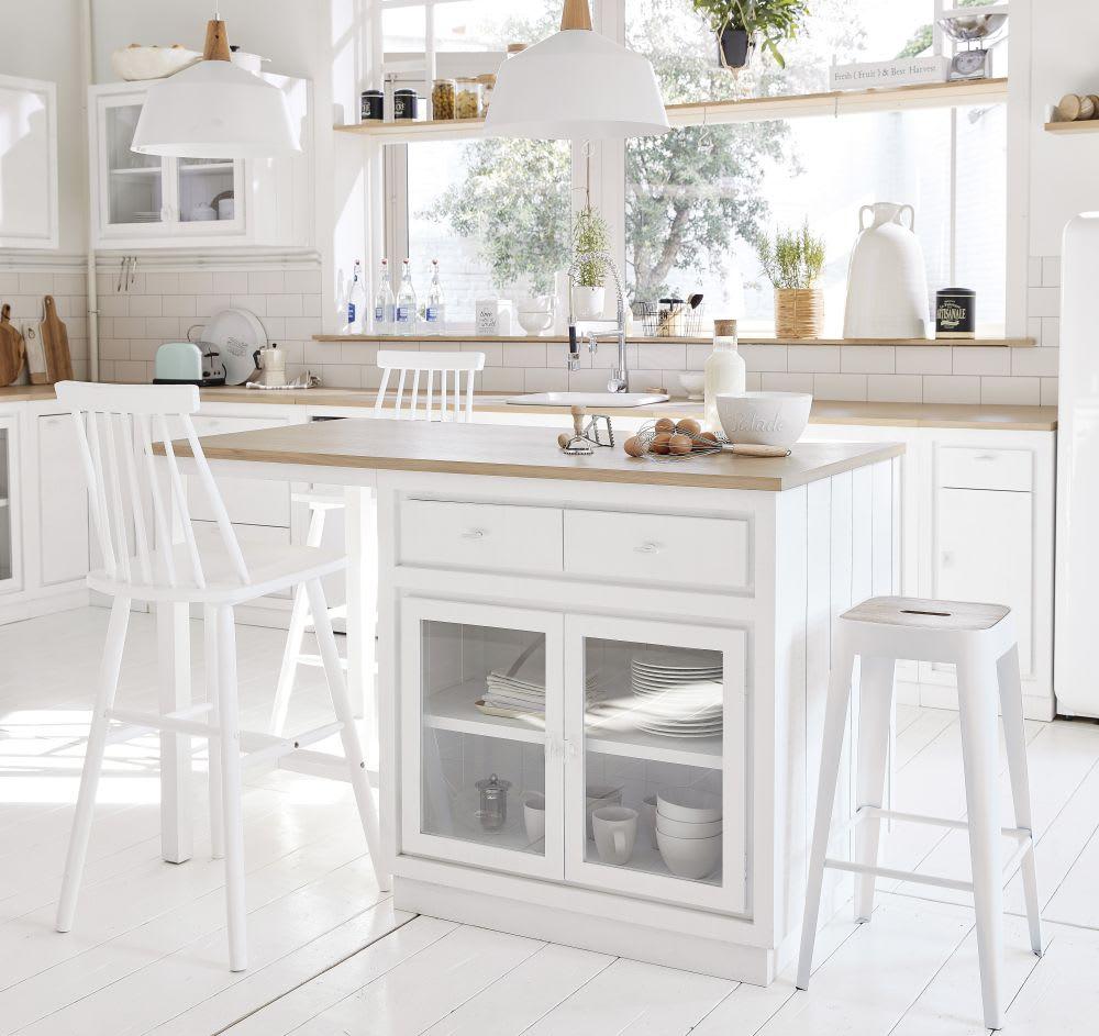 Lot central cuisine 6 tiroirs 2 portes blanc embrun maisons du monde - Cuisines maison du monde ...
