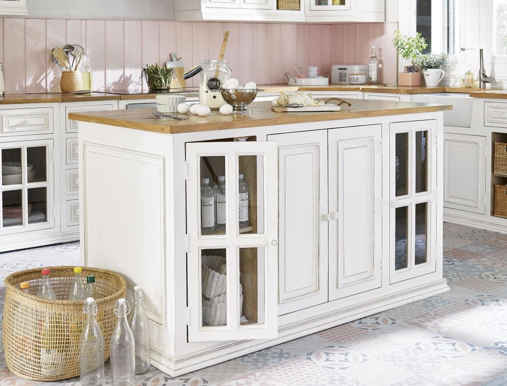 lot central cuisine en manguier ivoire l 160 cm eleonore. Black Bedroom Furniture Sets. Home Design Ideas