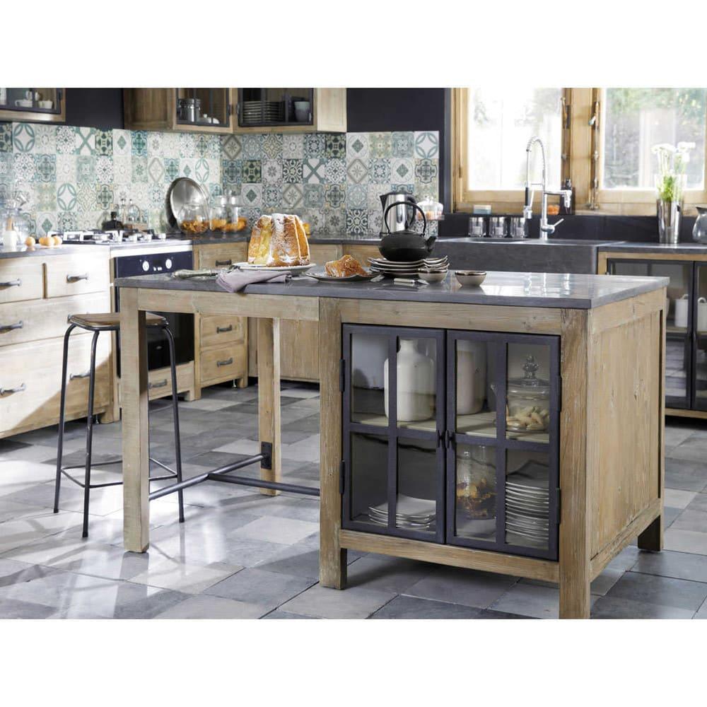 Lot central cuisine en pin recycl et pierre bleue anthracite copenhague maisons du monde - Cuisines maison du monde ...