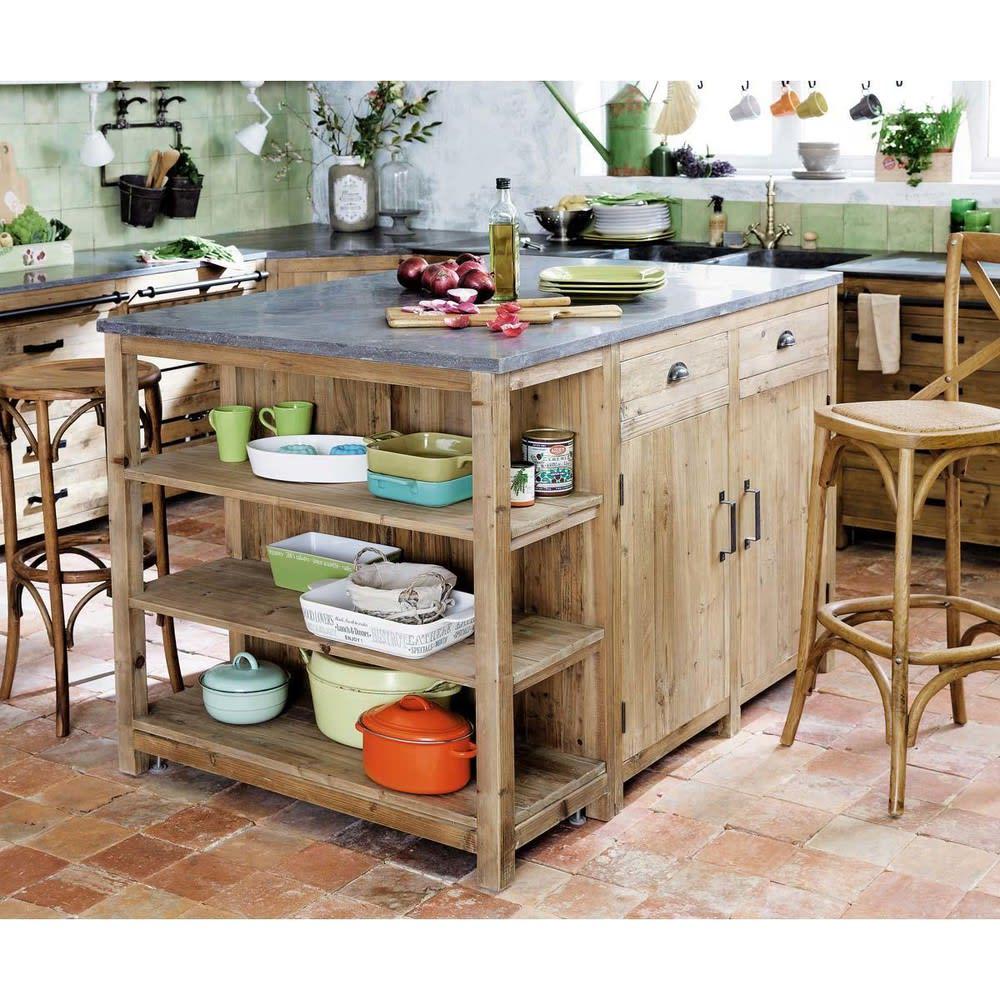 Lot central cuisine en pin recycl l145 maquis maisons du monde - Cuisine en ilot ...