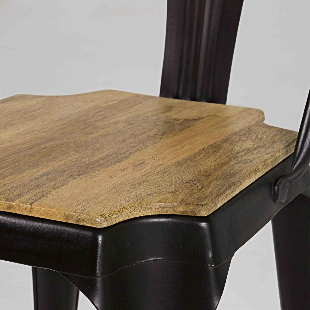 Industrial matte black metal and mango wood chair multipls