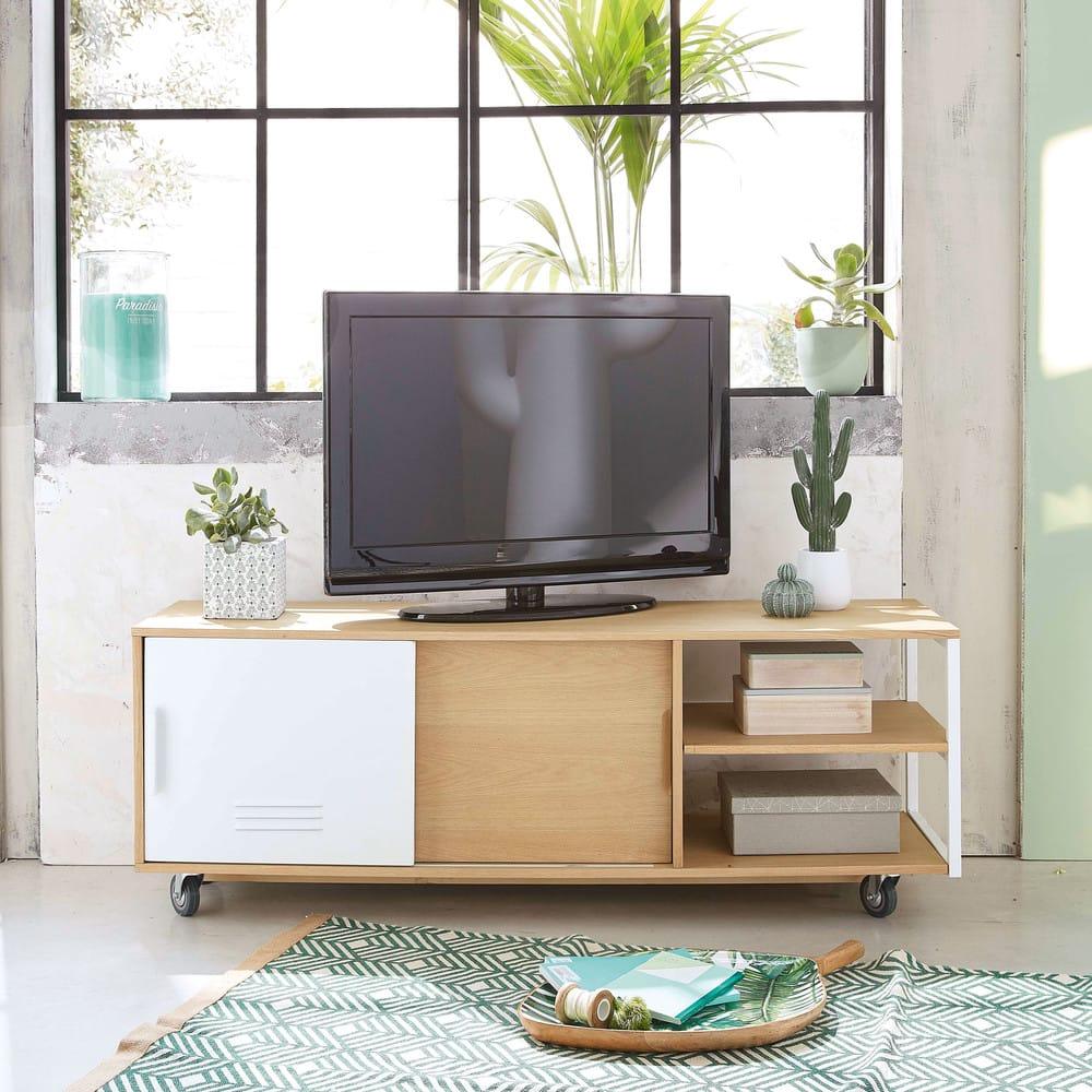 2 Tv Meubel.Industrial Tv Meubel Op Wieltjes Met 2 Deurtjes Pilea Maisons Du Monde