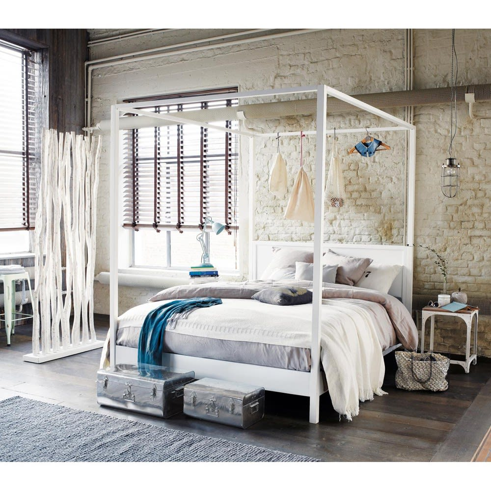 Chesterfield Maison Du Monde off-white pine four poster bed 160 x 200