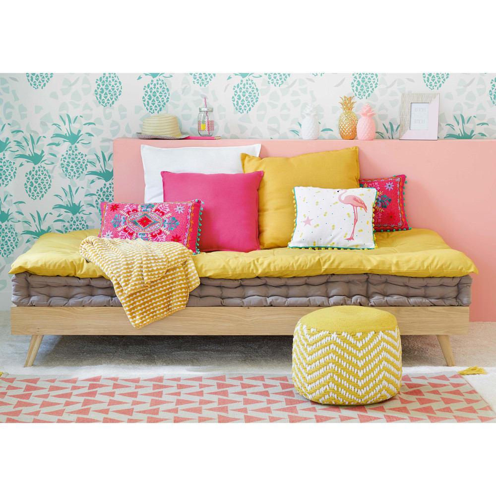 matelas enfant en coton taupe 90x190 maisons du monde. Black Bedroom Furniture Sets. Home Design Ideas