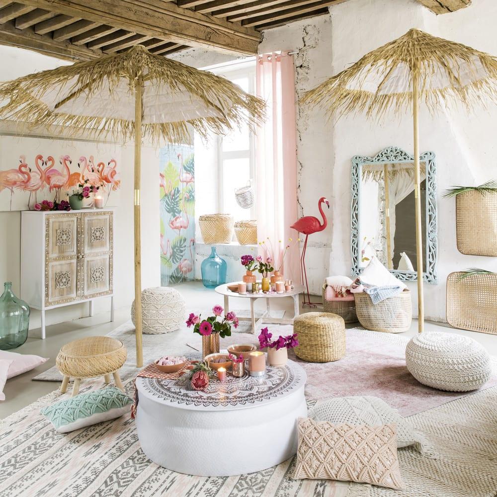Rideau à œillets en lin lavé vieux rose à l\'unité 130x300 | Maisons ...