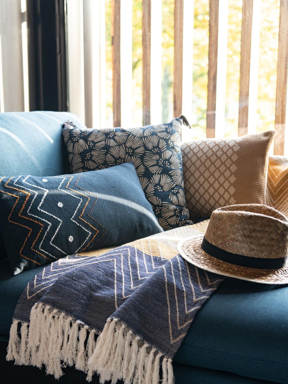 Cuscini Bianchi E Neri fodera di cuscino in cotone ricamato tricolore, 30x50 cm