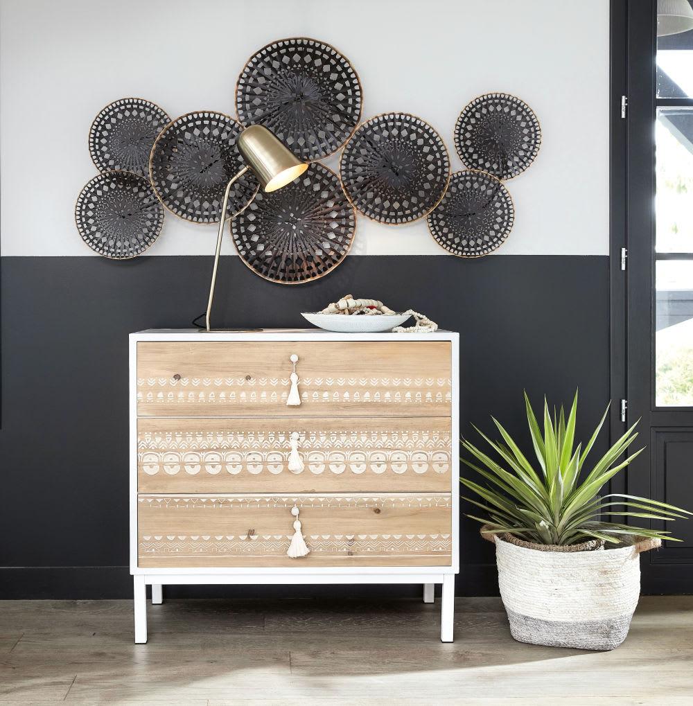 Maison Du Monde Credenze Bianche cassettone a 3 cassetti in metallo e legno massello di abete