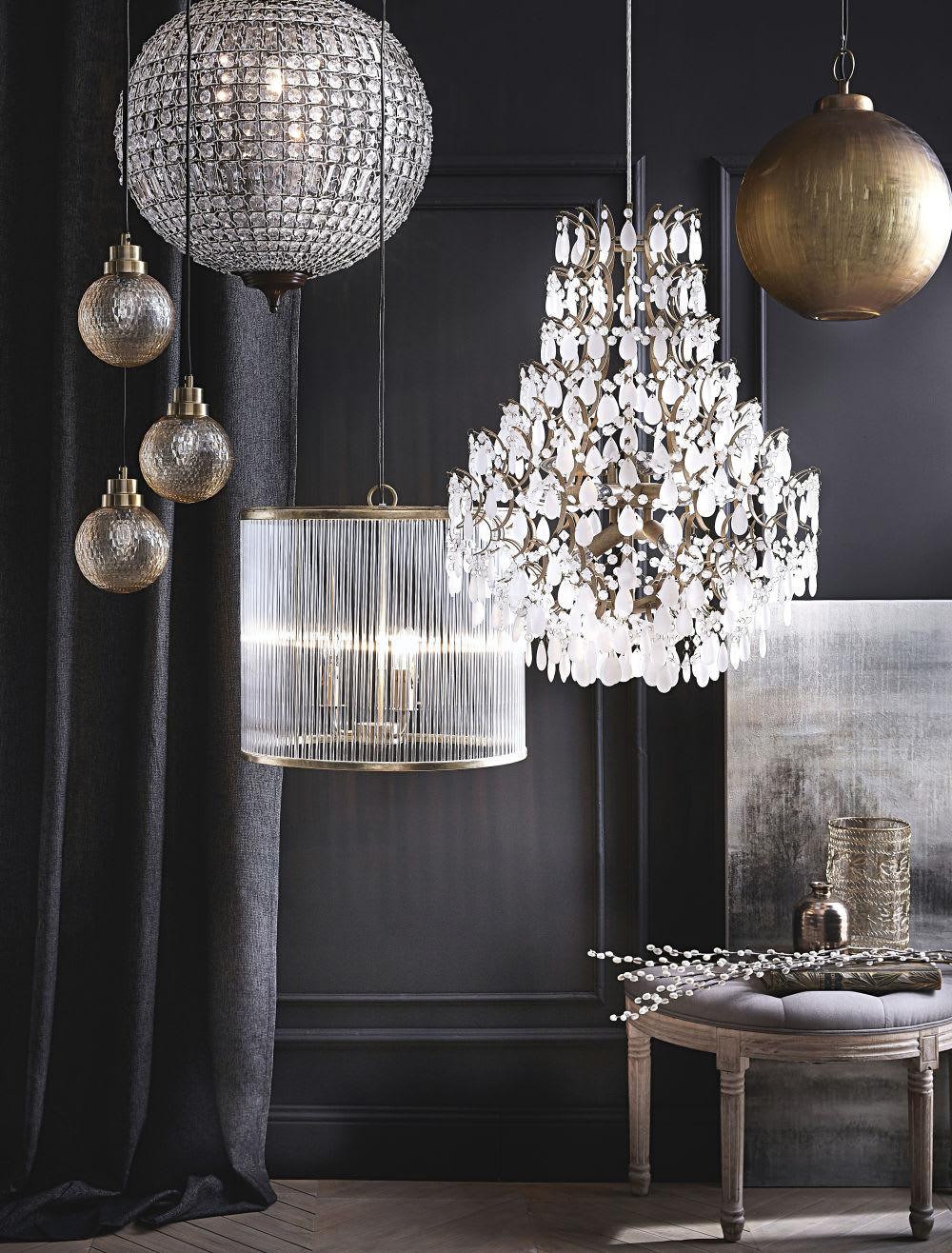 Lampade Sospensione A Grappolo lampada a sospensione a grappolo con 3 paralumi in vetro cesellato ambrato  | maisons du monde
