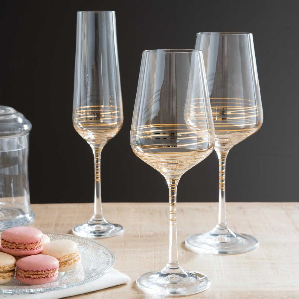 gold-coloured glass champagne flute  Maisons du Monde