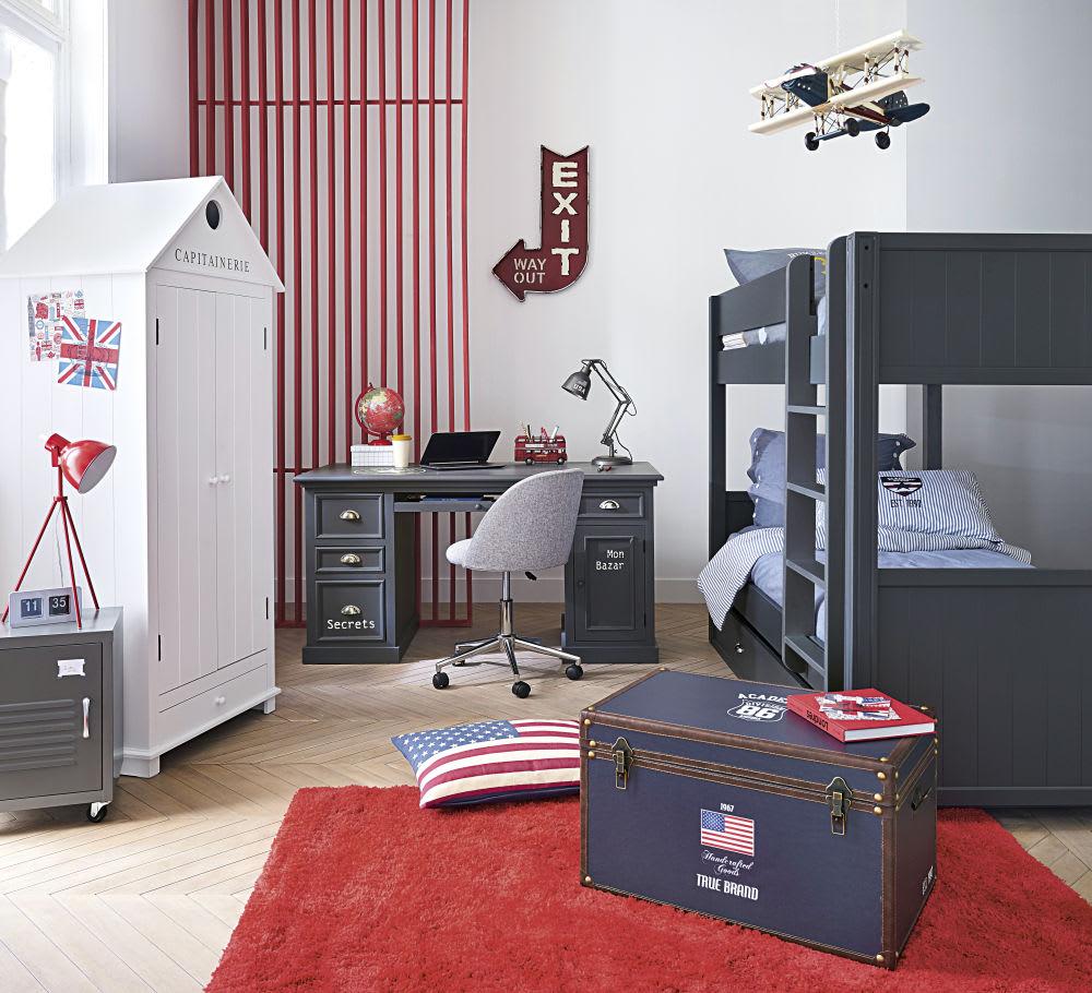 Schreibtisch mit 1 Tür und 4 Schubladen, graublaue Newport | Maisons ...