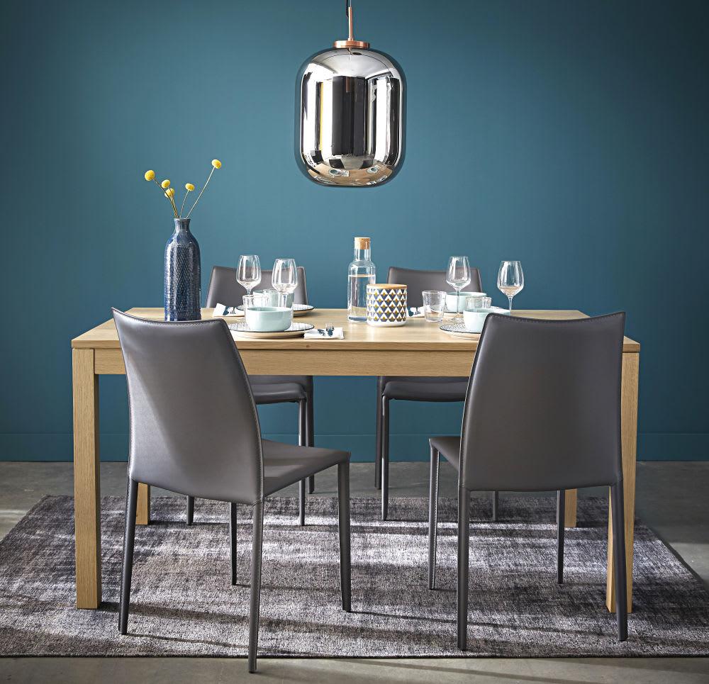 Maison Du Monde Credenze Bianche sedia grigia in cuoio rigenerato | maisons du monde