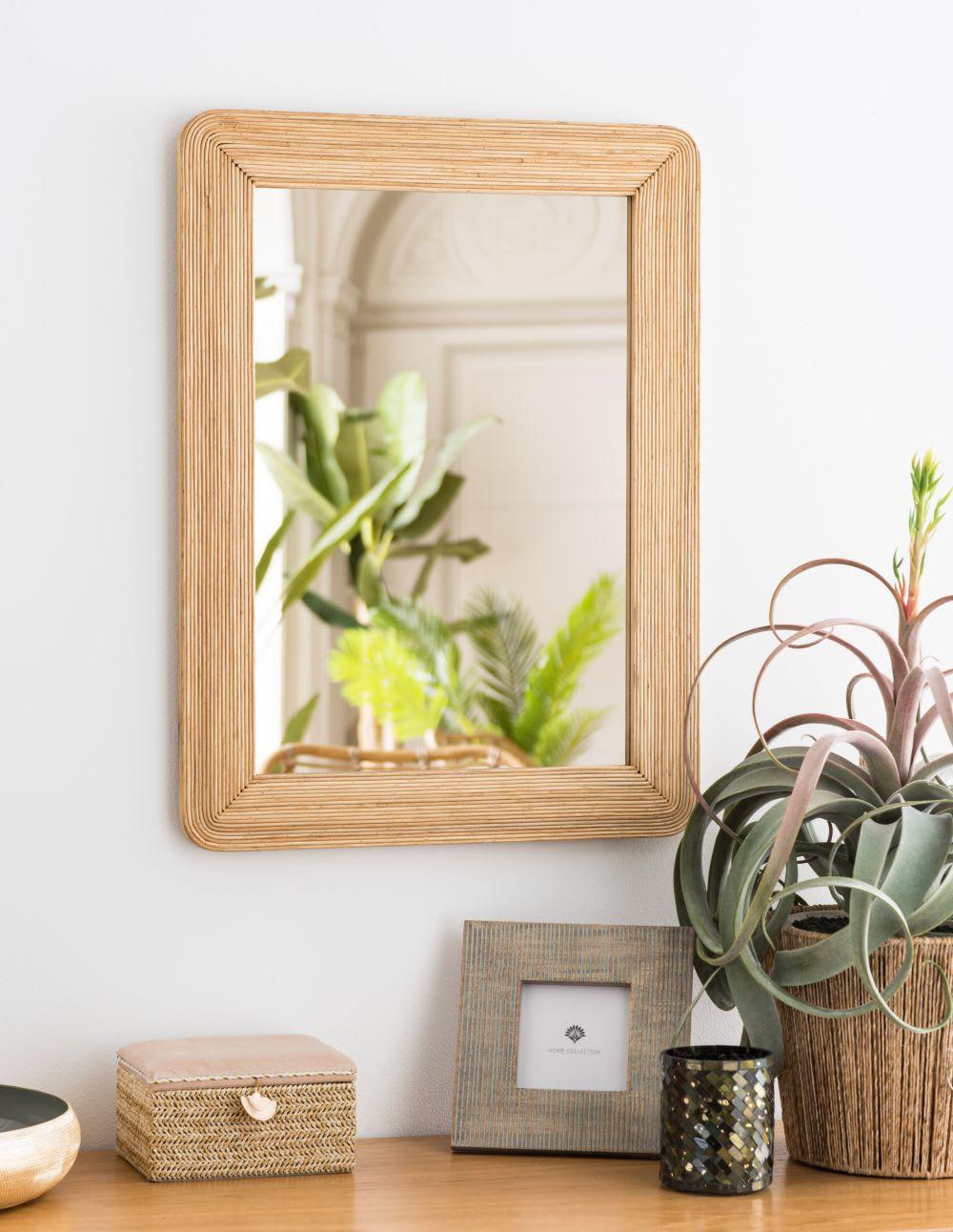 Cache Pied De Sapin Rotin miroir en rotin 45x60