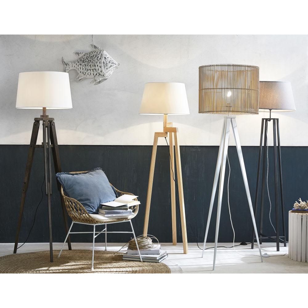 Stehlampe Aus Schwarzem Metall Mit Grauem Lampenschirm H160