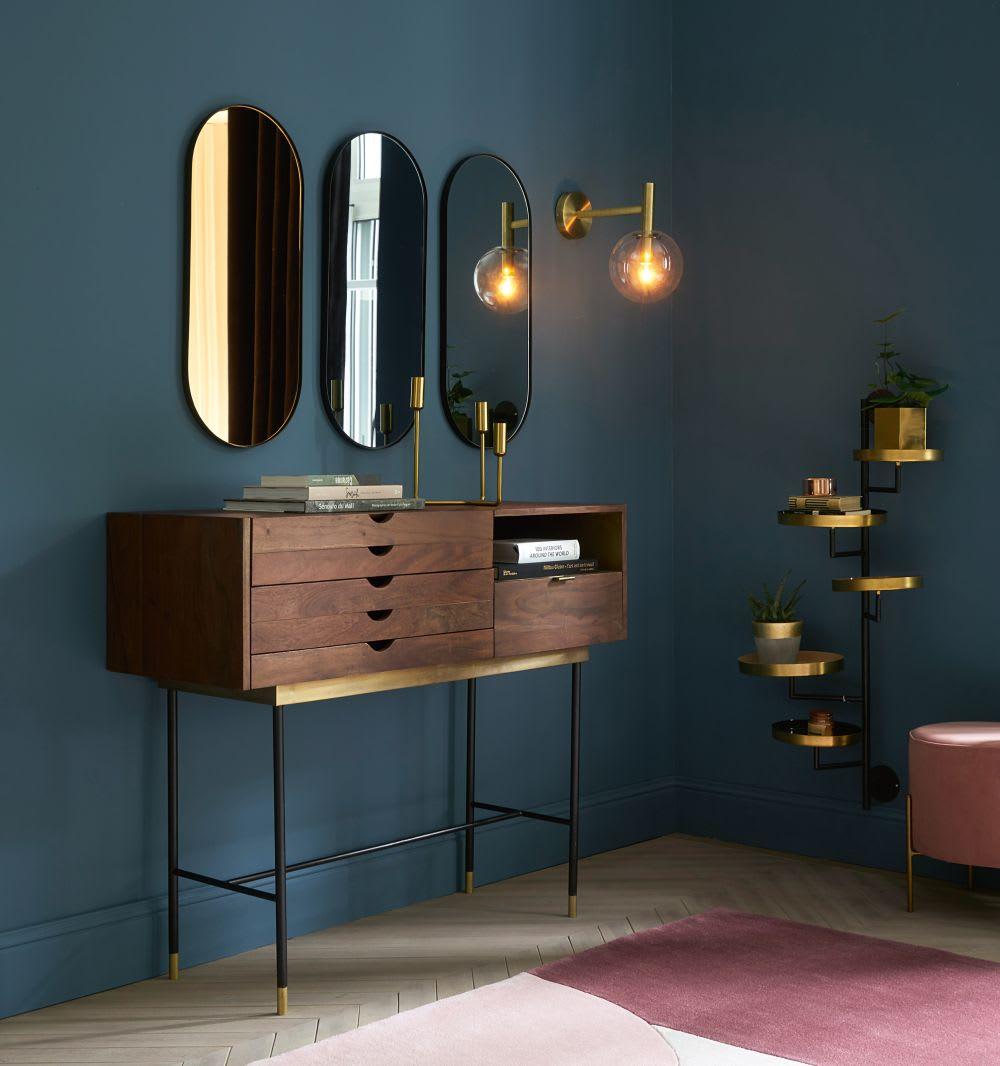 Miroir Maison Du Monde Industriel 3 miroirs en métal noir 30x70