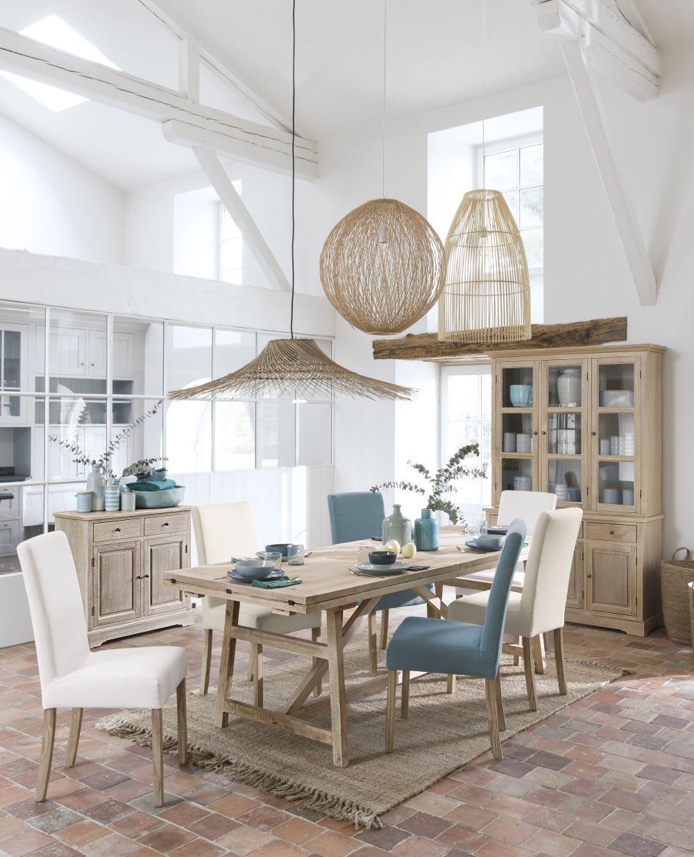 Maison Du Monde Credenze Bianche fodera blu ghiaccio in lino per sedia