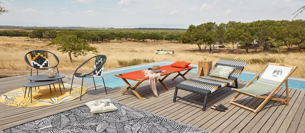 Lit de camp pliable en acacia et toile terracotta Selous | Maisons ...