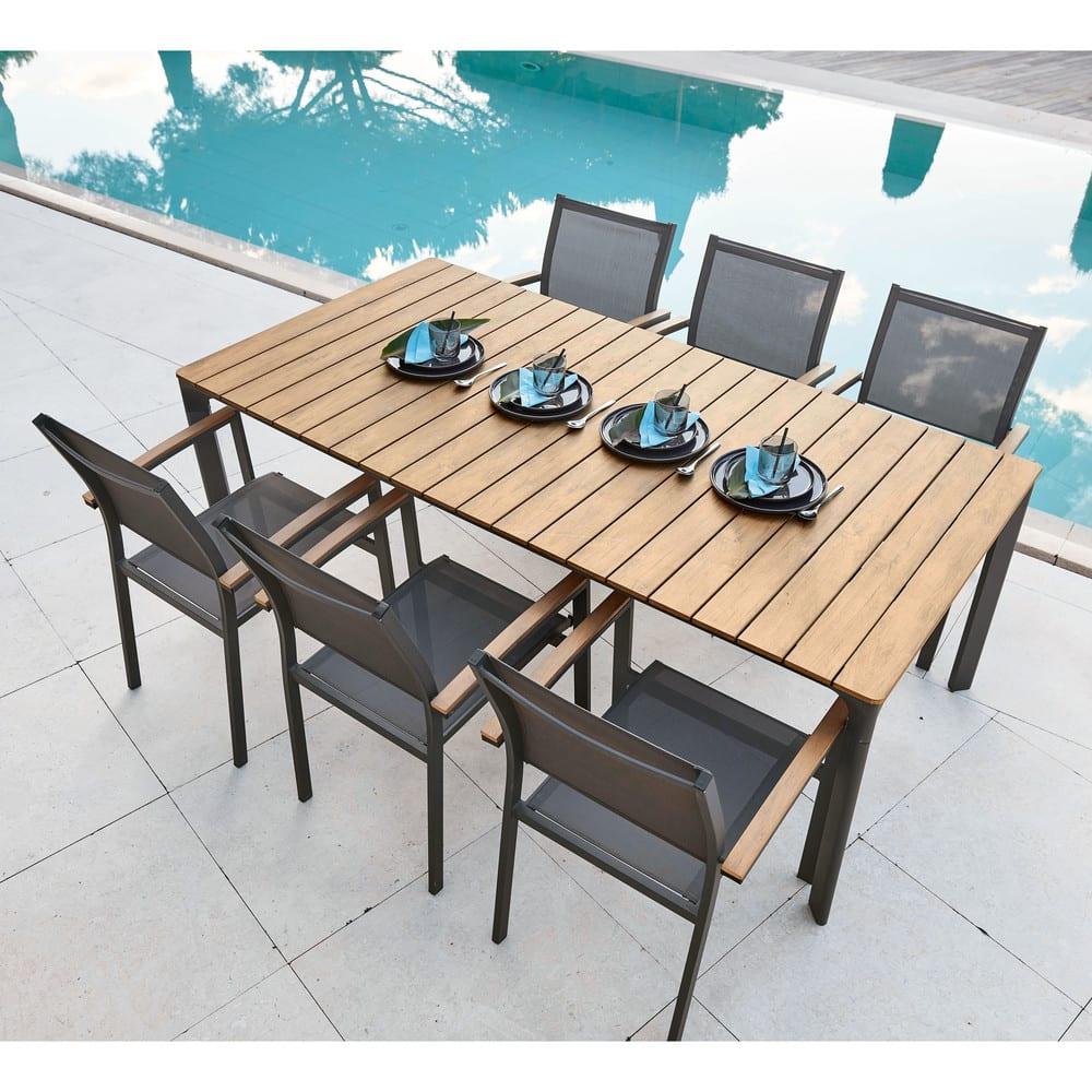 Table de jardin 6/8 personnes en acacia et métal noir L180 | Maisons du  Monde