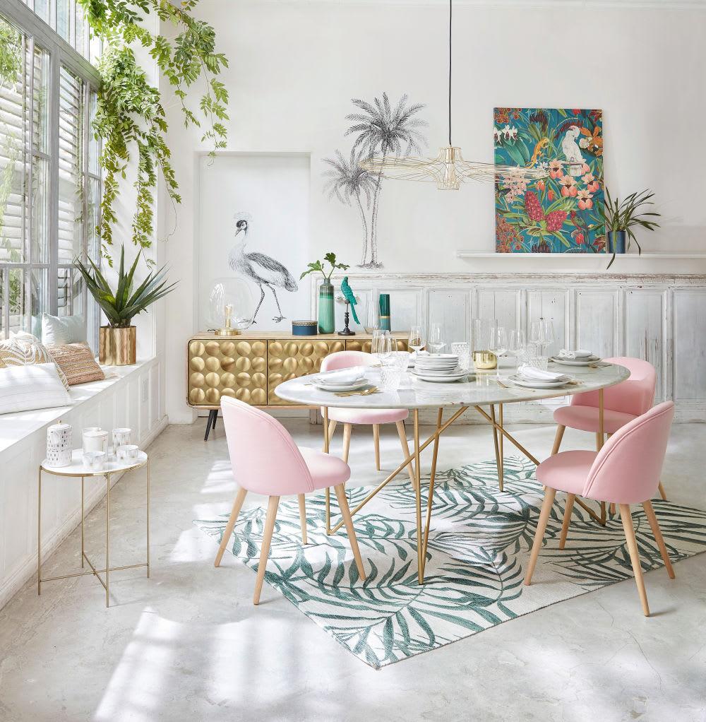sedia vintage rosa e legno massello di betulla mauricette. Black Bedroom Furniture Sets. Home Design Ideas