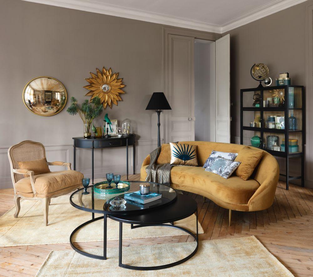 Canape Chien Maison Du Monde canapé vintage 3/4 places en velours jaune