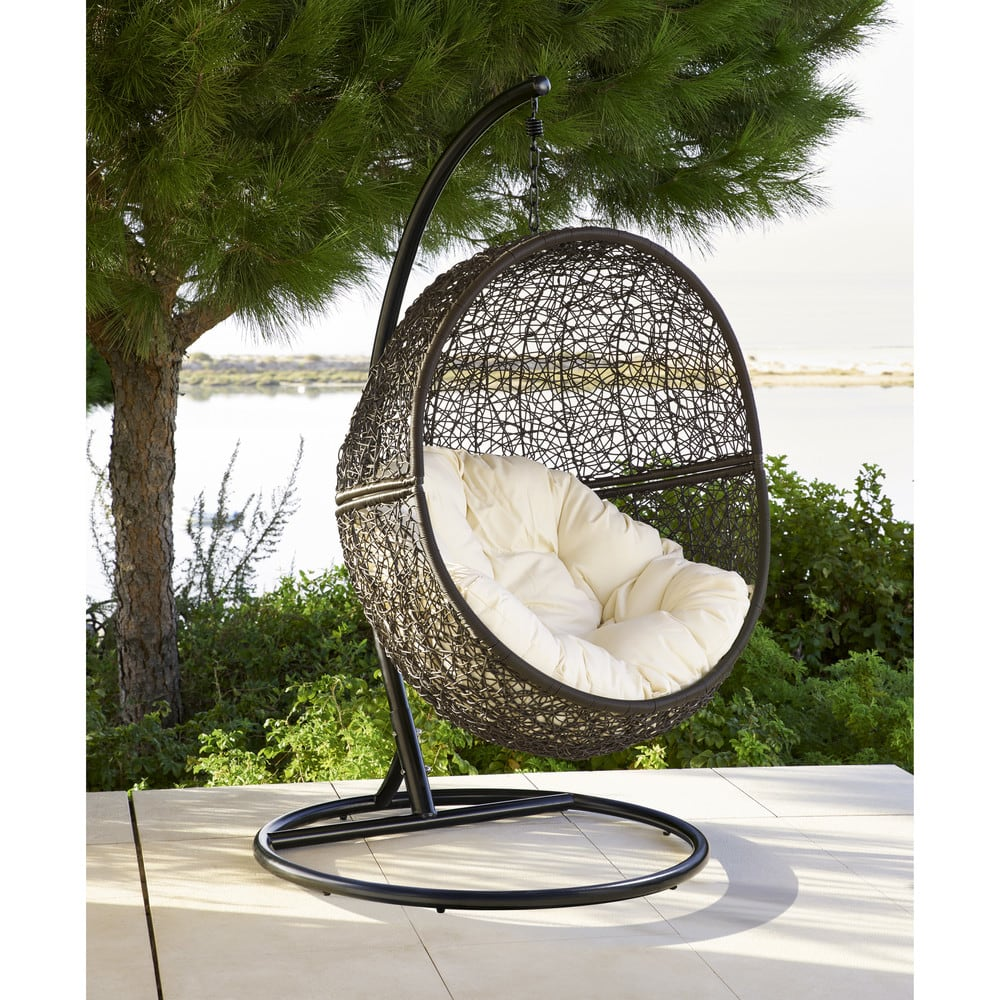 Maison Du Monde Fauteuil Rotin fauteuil suspendu de jardin en résine tressée marron