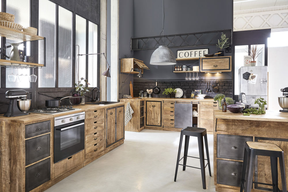 Küchen-Wandregal aus grauem Metall und massivem Mangoholz Melchior ...