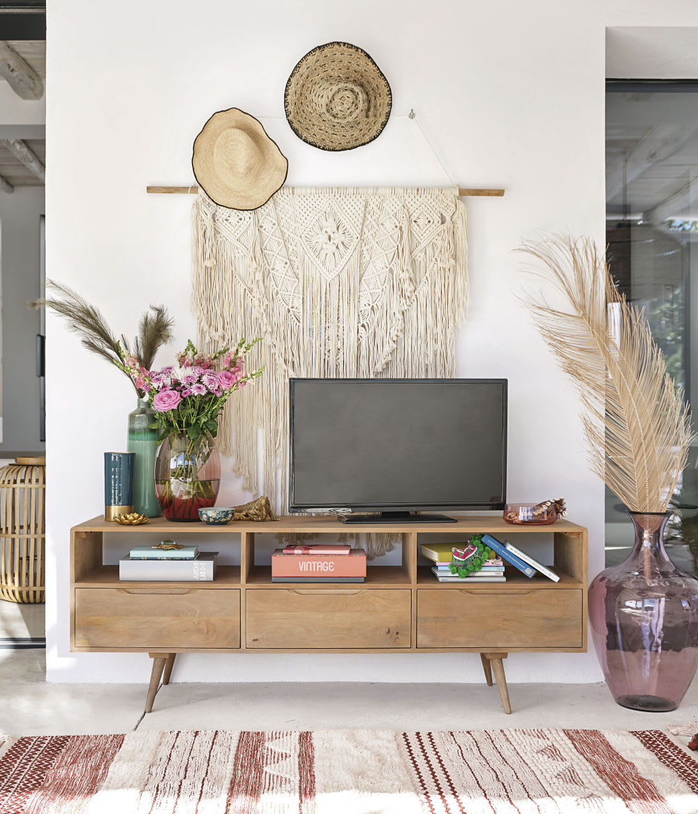 Table A Langer D Angle meuble tv vintage en manguier