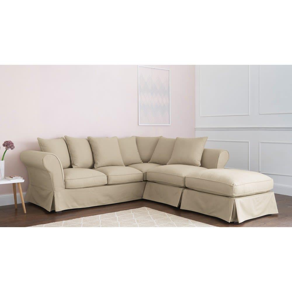 Canapé En Toile De Jute canapé d'angle 6 places en coton mastic