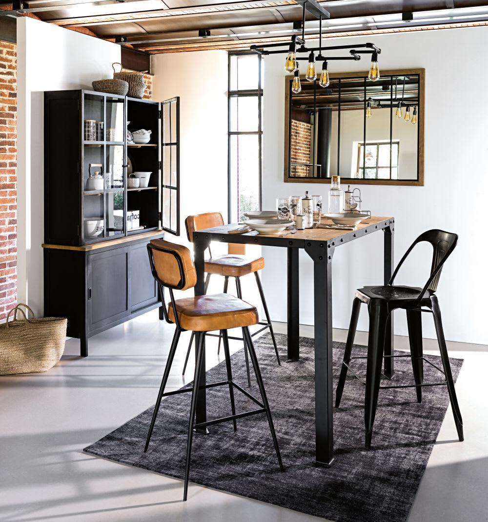 Miroir Maison Du Monde Industriel miroir en pin et métal noir 120x95
