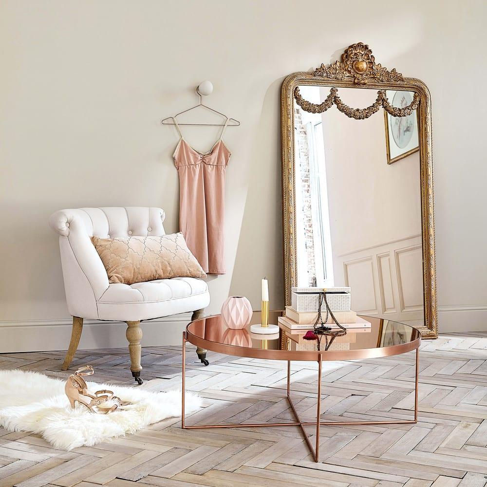 Miroir Maison Du Monde Industriel miroir à moulures dorées 90x161