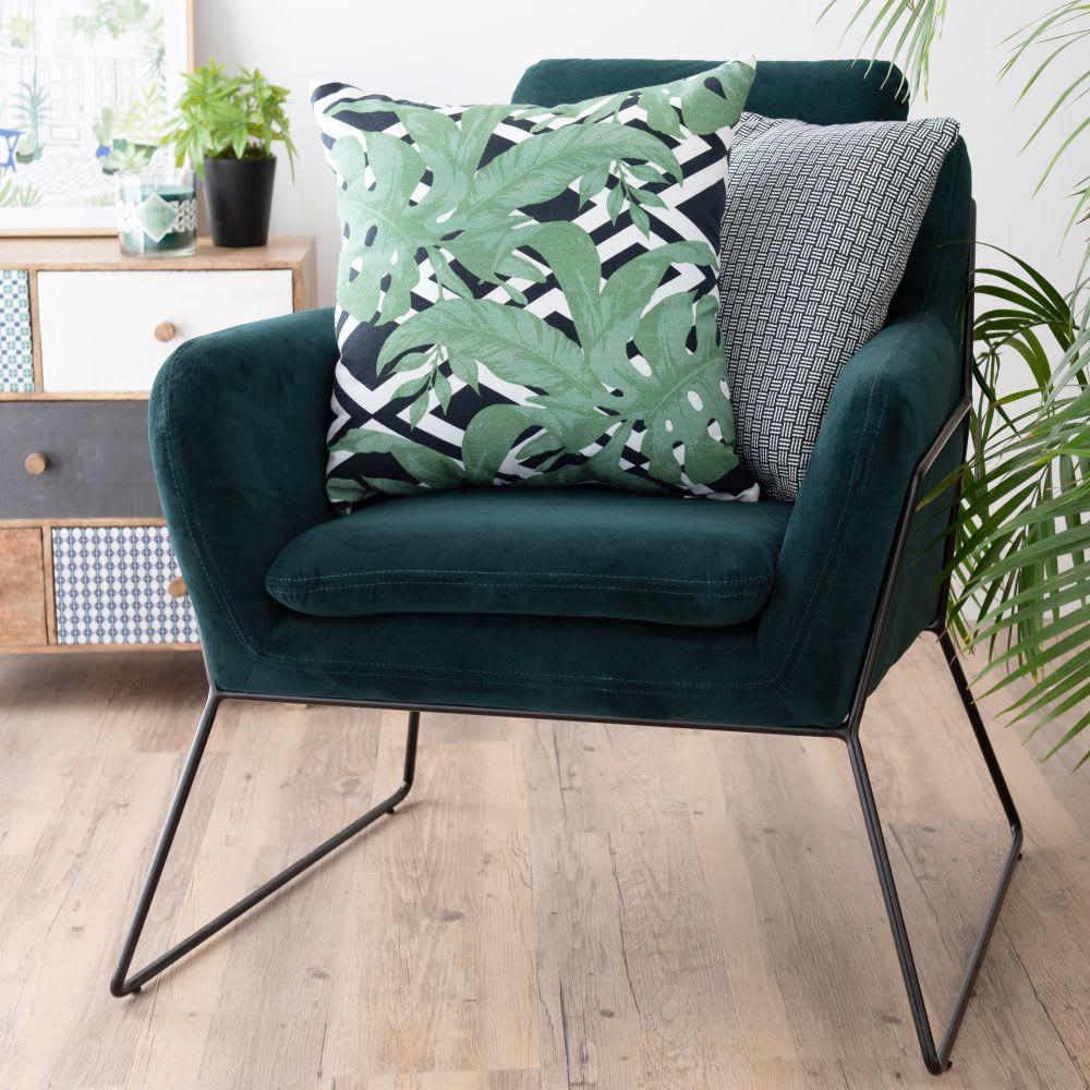 Cuscini Bianchi E Neri cuscino in cotone con motivi neri e verdi, 45x45 cm