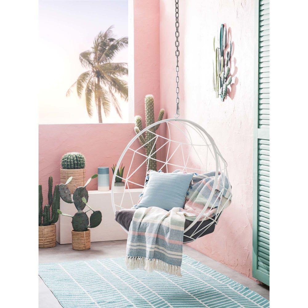 Design Hangstoel Binnen.Hangstoel Van Wit Metaal Met Grijze Kussens Palaos Maisons Du Monde