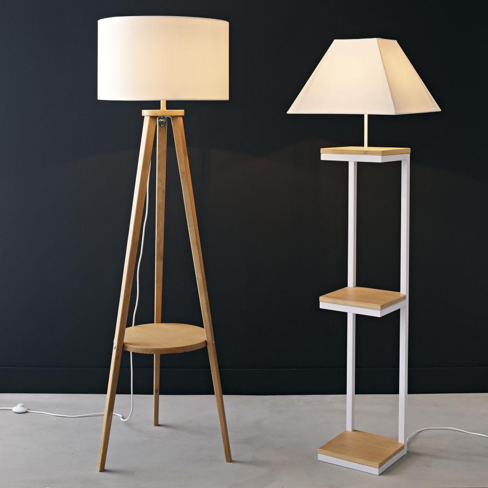 Stehlampe Aus Metall Und Baumwolle H158 Weiss Kenneth Maisons