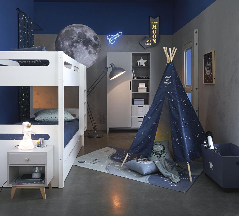 Maison Du Monde Credenze Bianche cassetta portatutto a rotelle in metallo blu | maisons du monde