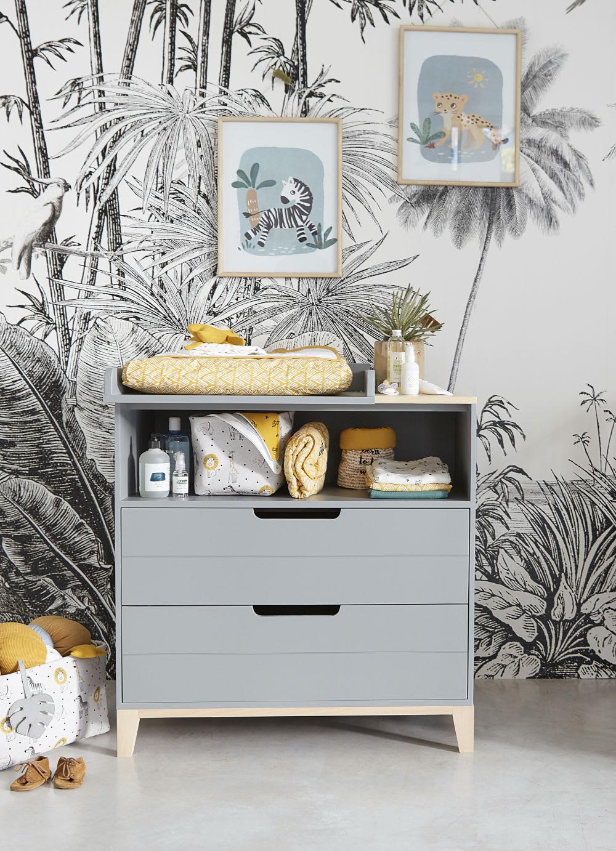 Papier Peint Intisse Imprime Jungle Noir Et Blanc 300x350 Paradise Maisons Du Monde
