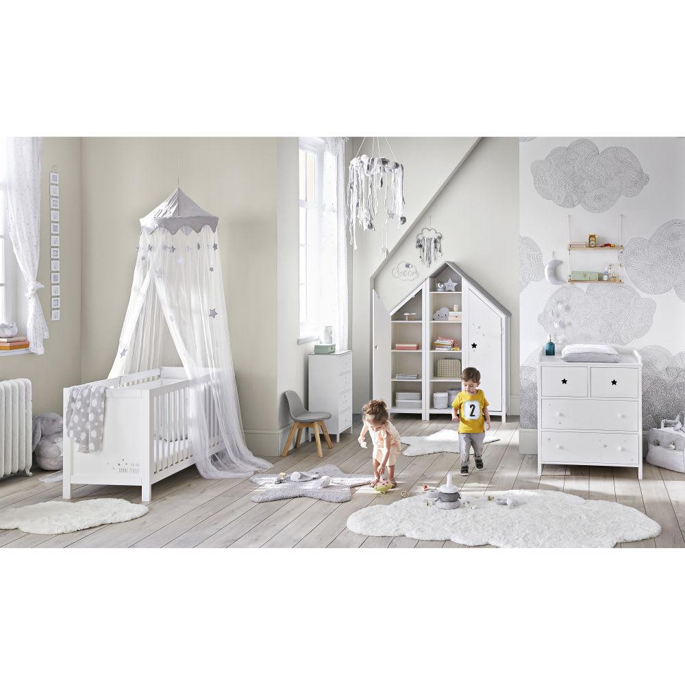 Maison Blanche Et Grise ciel de lit enfant blanc et gris