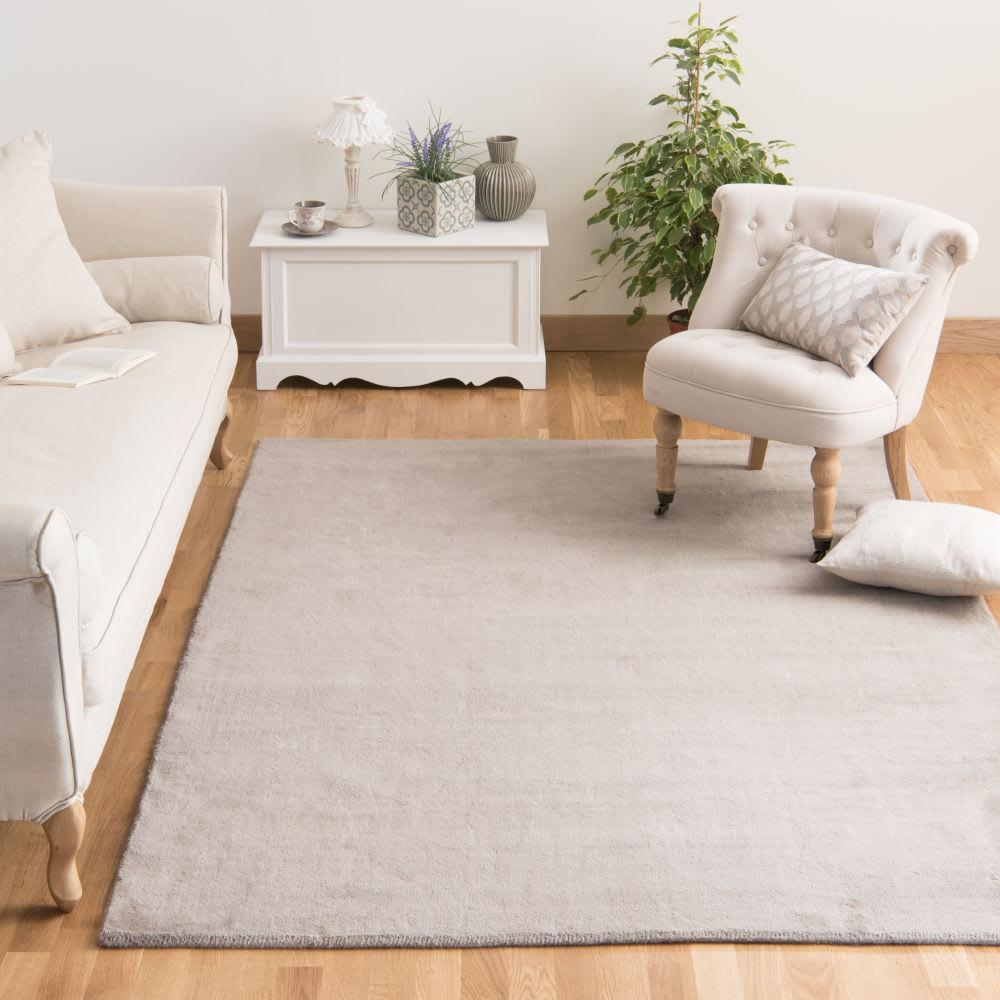 Tapis Et Canapé D Angle tapis à poils courts en laine beige 140 x 200 cm